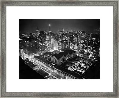 Pennsylvania Station At Night Framed Print by Underwood Archives