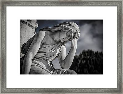 Pensive Angel At Heredia Cemetery Framed Print by Andres Leon