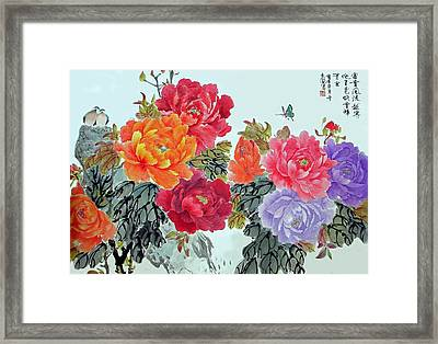 Peonies And Birds Framed Print by Yufeng Wang