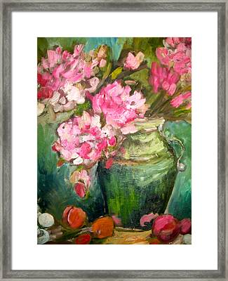 Peonies And Peaches Framed Print by Carol Mangano