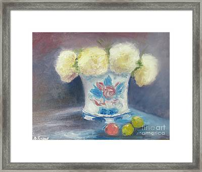Peonies In China Vase Framed Print by Barbara Anna Knauf