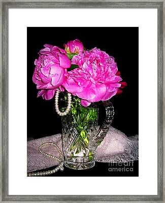Peonies Pearls Lace And Crystal Framed Print by Margaret Newcomb