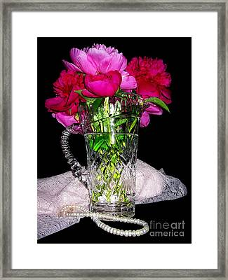 Peonies Pearls Lace Crystal 2 Framed Print by Margaret Newcomb