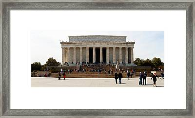 People At Lincoln Memorial, The Mall Framed Print by Panoramic Images