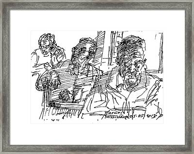 People At The Cafe Framed Print by Ylli Haruni