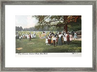 People At The Playground In Central Park Circa 1910 On Ancient P Framed Print by Patricia Hofmeester
