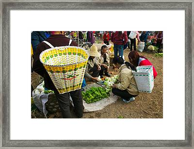 People Buying Vegetables Framed Print by Panoramic Images