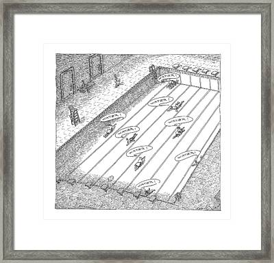 People Crawl Along The Bottom Of An Empty Framed Print by John O'Brien