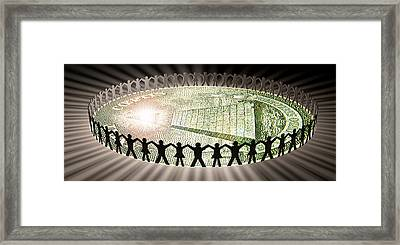 People In Circle Around Money Framed Print by Panoramic Images