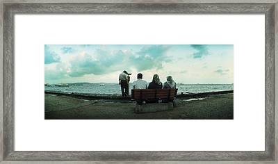 People Looking Out On The Bosphorus Framed Print by Panoramic Images