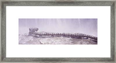 People On Cat Walks At Floodwaters Framed Print by Panoramic Images