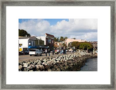 People On The Bridgeway Street Framed Print by Panoramic Images