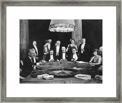 People Playing Roulette Framed Print by Underwood Archives