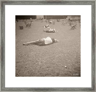 People Sleeping In The Park Framed Print by Beverly Brown Prints