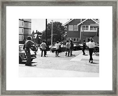 People's Park Bloody Thursday Framed Print by Underwood Archives Peterson