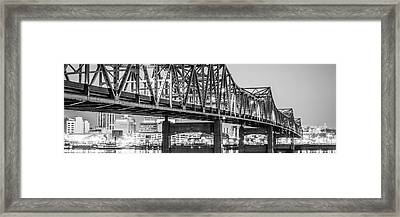 Peoria Il Panorama Black And White Picture Framed Print by Paul Velgos