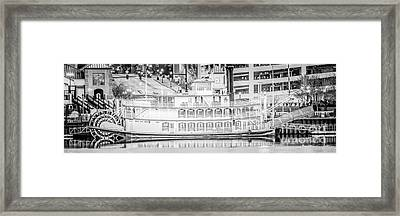 Peoria Riverboat Panoramic Black And White Photo Framed Print by Paul Velgos