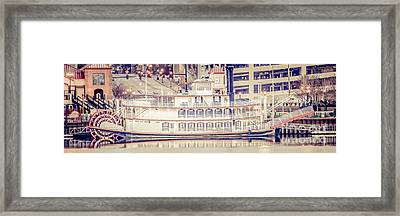 Peoria Riverboat Vintage Panorama Photo Framed Print by Paul Velgos
