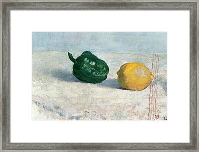 Pepper And Lemon On A White Tablecloth Framed Print by Odilon Redon