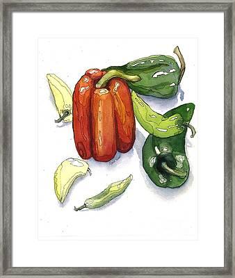 Pepper Fiesta II Framed Print by Maria Hunt