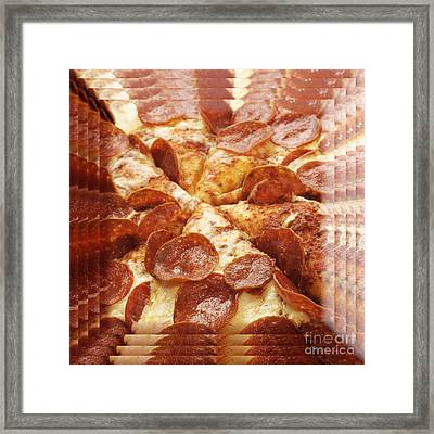 Pepperoni Pizza 25 Pyramid Framed Print by Andee Design