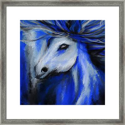 Perfect Blue- Gray And Blue Painting Framed Print by Lourry Legarde