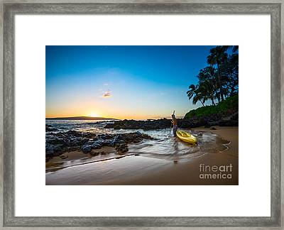 Water Reflections Framed Print featuring the photograph Perfect Ending - Beautiful And Secluded Secret Beach In Maui by Jamie Pham