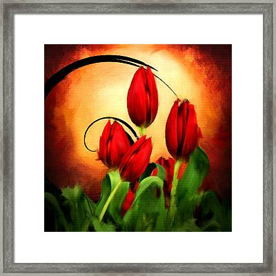 Perfect Gift Of Love- Red Tulips Paintings Framed Print by Lourry Legarde