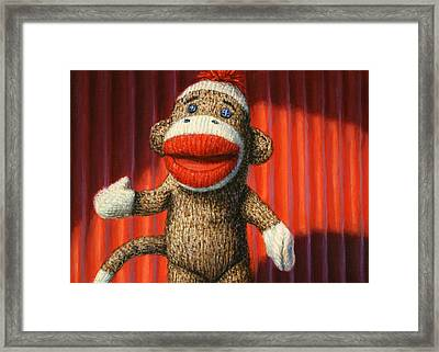 Performing Sock Monkey Framed Print by James W Johnson