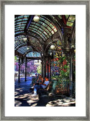 Pergola Shadow Play Framed Print by David Patterson