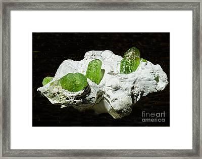 Peridot Crystals Framed Print by Millard H. Sharp
