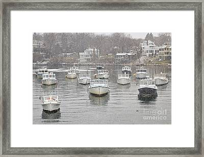 Perkins Cove Lobster Boats In Snow Framed Print by Katherine Gendreau