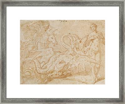 Perseus Rescuing Andromeda Red Chalk On Paper Framed Print by or Zuccaro, Federico Zuccari