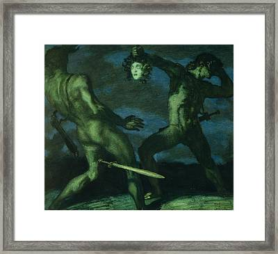 Perseus Turns Phineus To Stone By Brandishing The Head Of Medusa Framed Print by Franz von Stuck