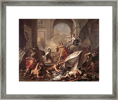 Perseus, Under The Protection Of Minerva, Turns Phineus To Stone By Brandishing The Head Of Medusa Framed Print by Jean-Marc Nattier