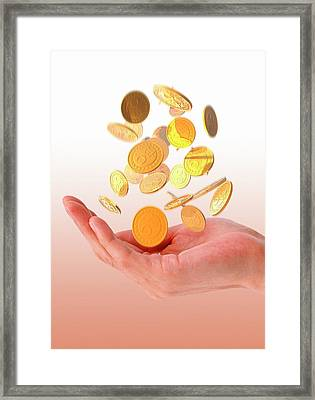 Person Catching Bitcoins Framed Print by Victor Habbick Visions