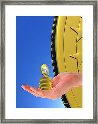 Person Holding Bitcoins Framed Print by Victor Habbick Visions