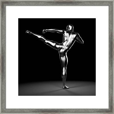 Person Kick Boxing Framed Print by Sebastian Kaulitzki