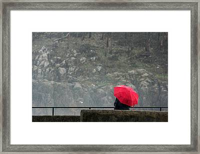 Person With Red Umbrella On A Rainy Day Framed Print by Mikel Martinez de Osaba