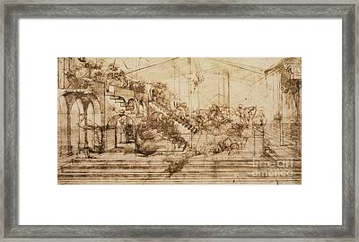 Perspective Study For The Background Of The Adoration Of The Magi Framed Print by Leonardo da Vinci