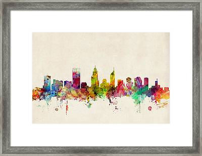 Perth Australia Skyline Framed Print by Michael Tompsett