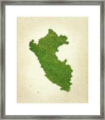 Peru Grass Map Framed Print by Aged Pixel