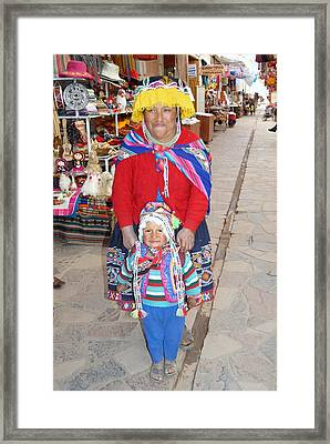 Peruvian Mother And Child Framed Print by Eva Kaufman