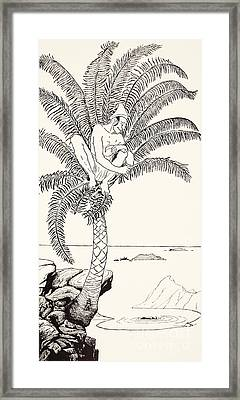 Pestonjee Bomonjee Sitting In His Palm-tree And Watching The Rhinoceros Strorks Bathing Framed Print by Joseph Rudyard Kipling