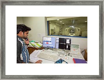 Pet-ct Scanner Control Room Framed Print by Ashley Cooper