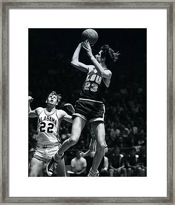 Pete Maravich Fade Away Framed Print by Retro Images Archive