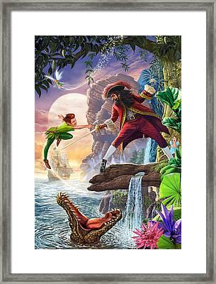 Peter Pan And Captain Hook Framed Print by Steve Crisp