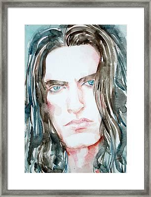 Peter Steele Watercolor Portrait Framed Print by Fabrizio Cassetta