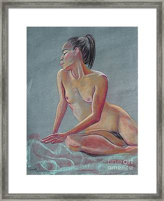 Petite Woman With A Ponytail Framed Print by Asha Carolyn Young