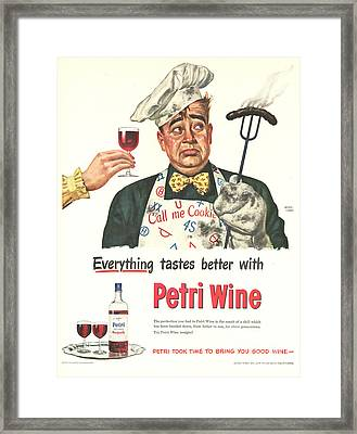 Petri Wine 1940s Usa Cooking  Bbq Framed Print by The Advertising Archives
